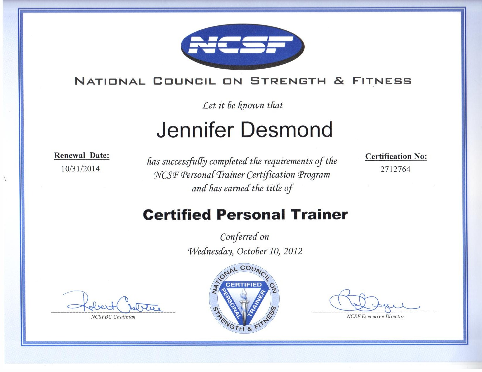 Certifications Nj Fitness Trainer